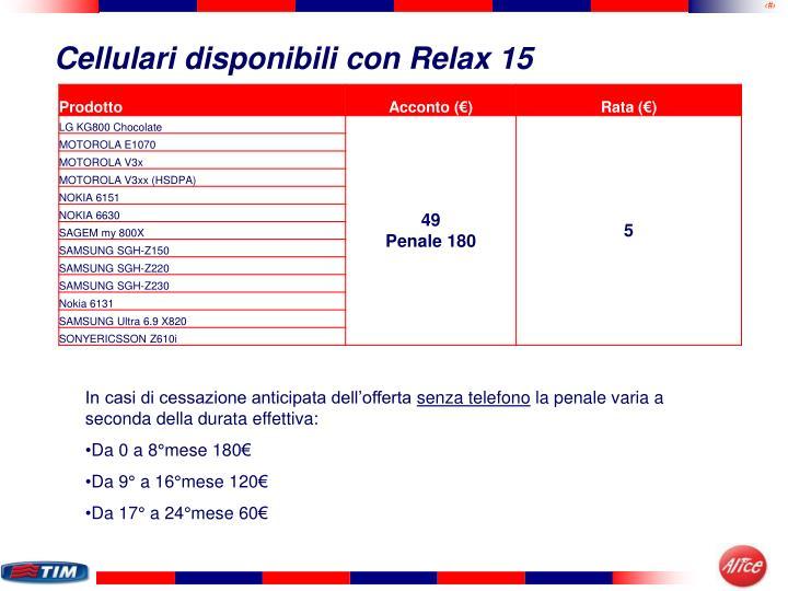 Cellulari disponibili con Relax 15