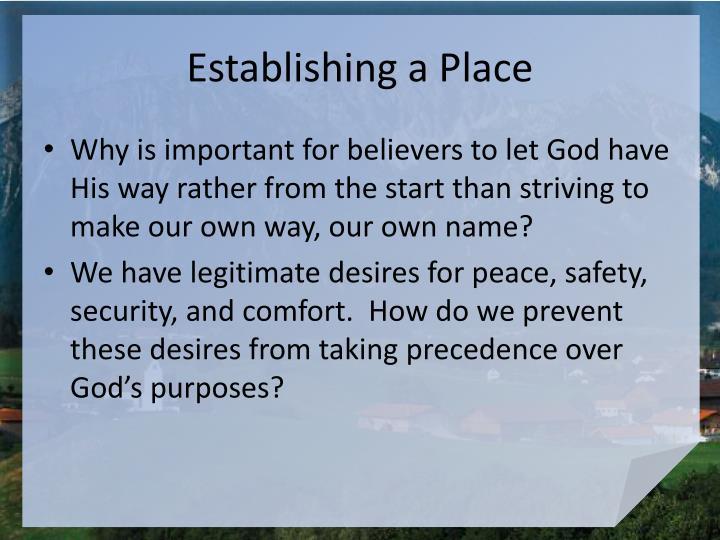 Establishing a Place