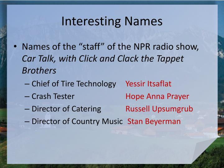 Interesting names1