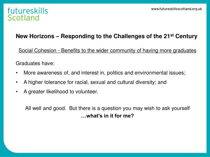 New horizons responding to the challenges of the 21 st century