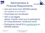 administrative financial requirements