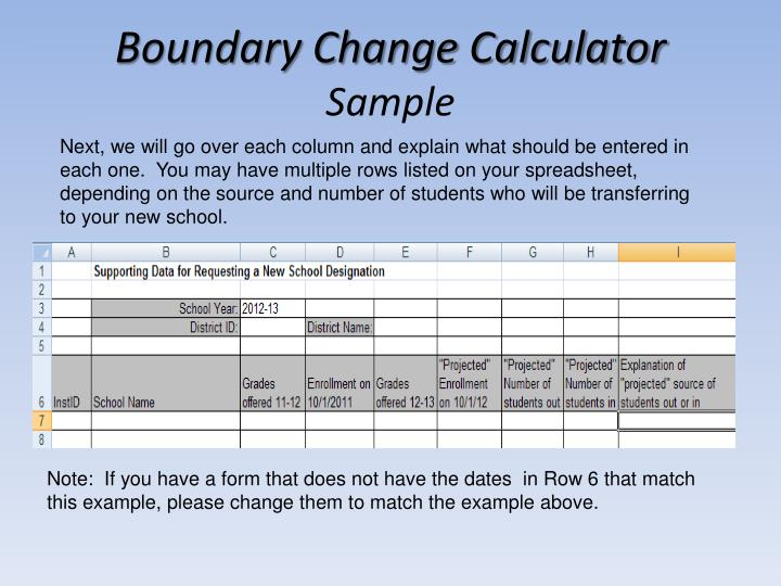 Boundary Change Calculator