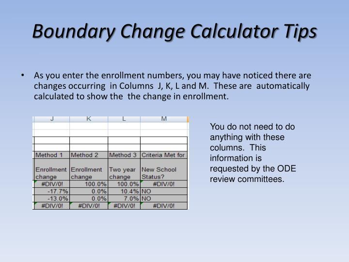 Boundary Change Calculator Tips