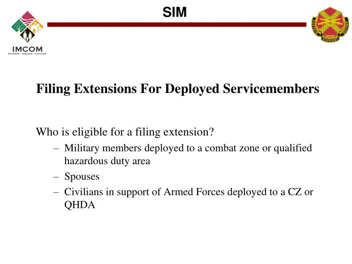 Filing Extensions For Deployed Servicemembers