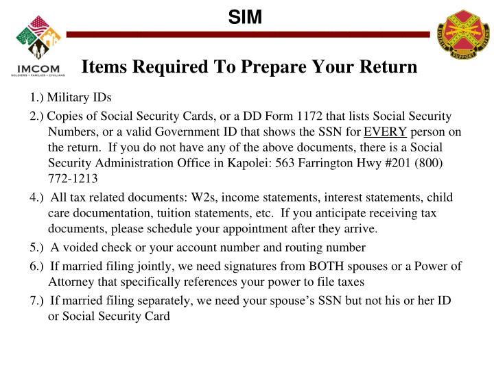 Items Required To Prepare Your Return