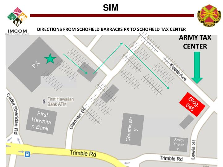 DIRECTIONS FROM SCHOFIELD BARRACKS PX TO SCHOFIELD TAX CENTER