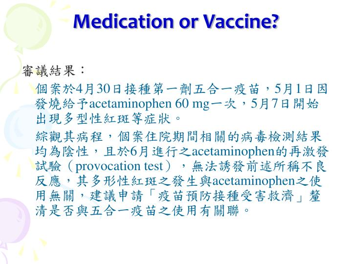 Medication or Vaccine?