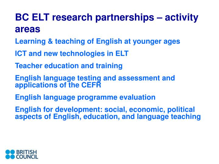 BC ELT research partnerships – activity areas