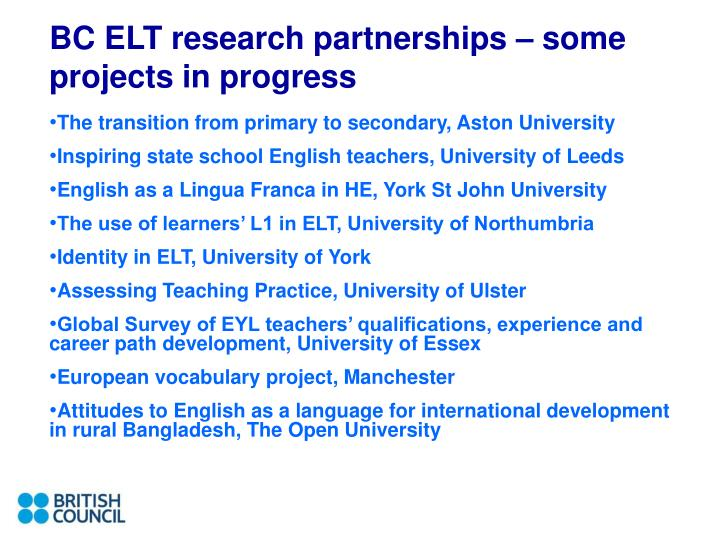 BC ELT research partnerships – some projects in progress