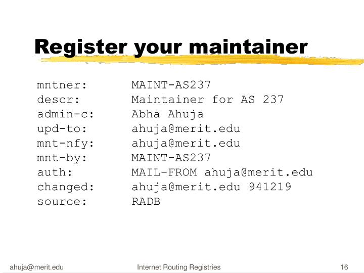 Register your maintainer