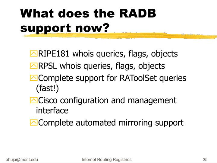What does the RADB support now?