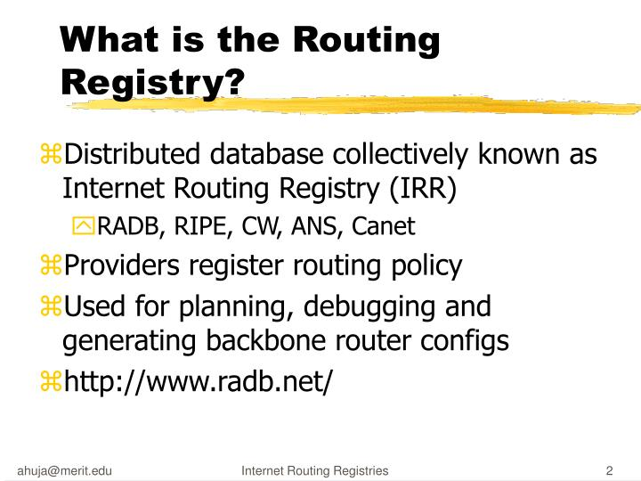 What is the routing registry