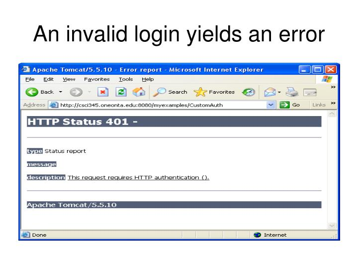 An invalid login yields an error
