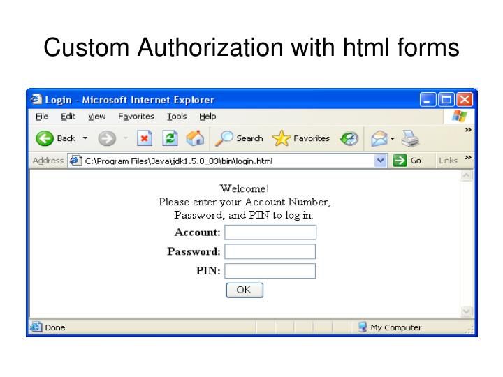 Custom Authorization with html forms