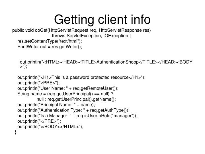 Getting client info