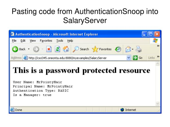 Pasting code from AuthenticationSnoop into SalaryServer