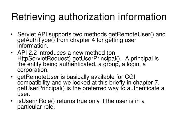 Retrieving authorization information