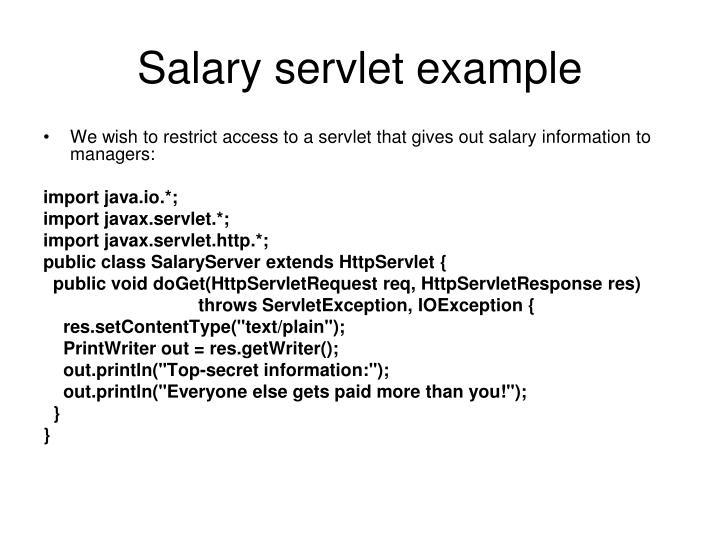 Salary servlet example