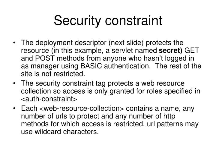 Security constraint