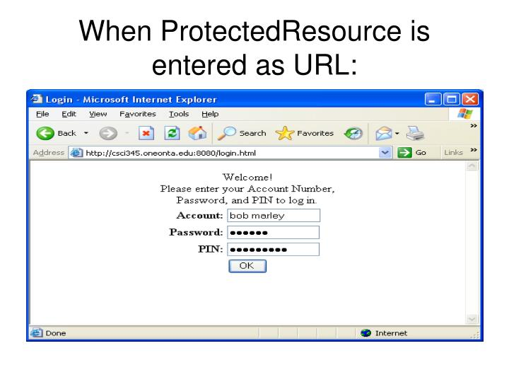 When ProtectedResource is entered as URL:
