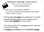 packing in meaning event nouns or grammatical metaphor process to participant