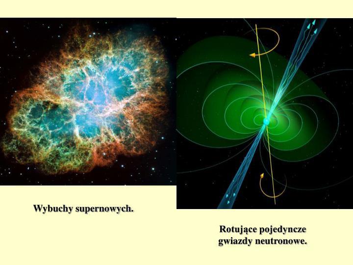 Wybuchy supernowych.