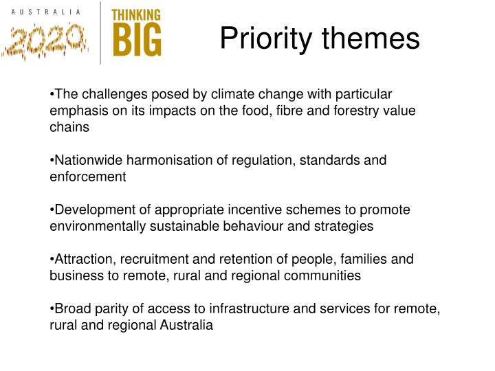 Priority themes