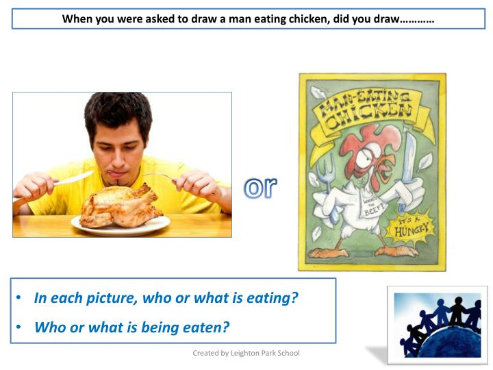 When you were asked to draw a man eating chicken, did you draw…………