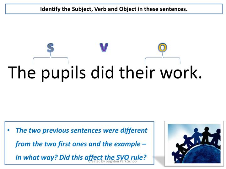 Identify the Subject, Verb and Object in these sentences.