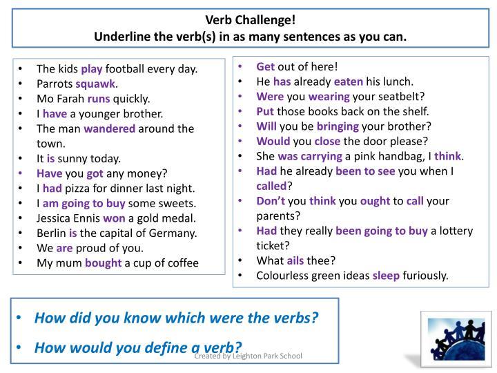 Verb Challenge!