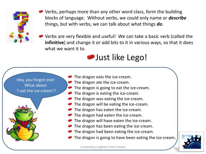 Verbs, perhaps more than any other word class, form the building blocks of language.  Without verbs, we could only name or