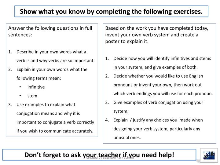 Show what you know by completing the following exercises.
