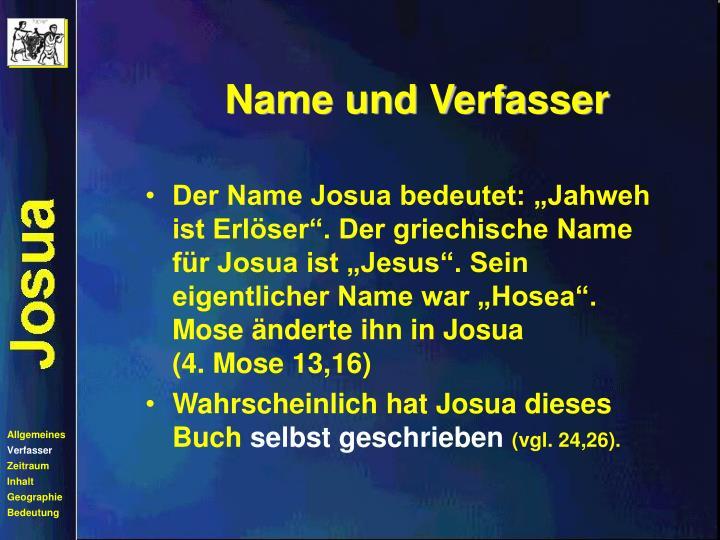 Name und Verfasser