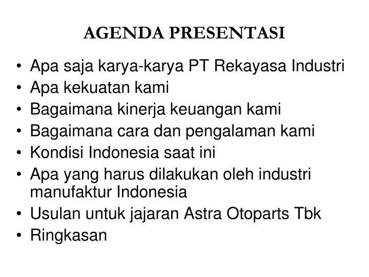Agenda presentasi