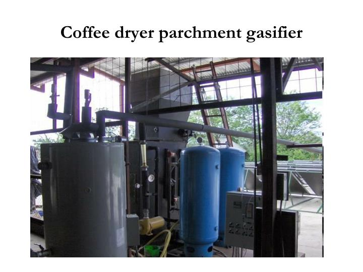Coffee dryer parchment gasifier