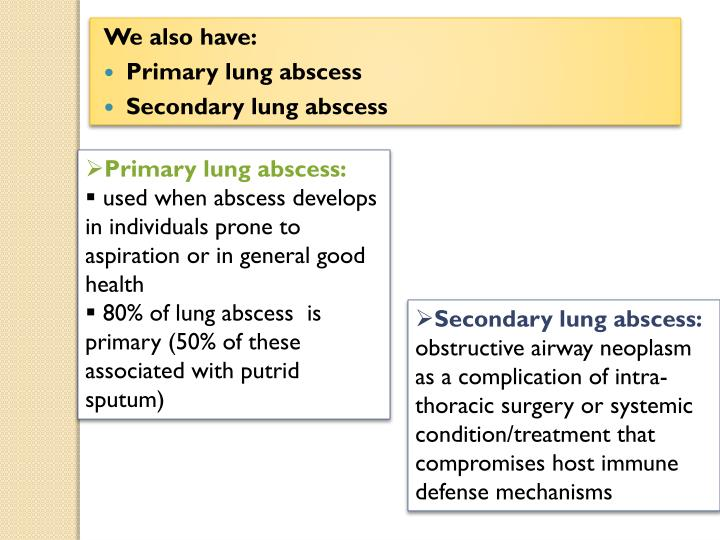 Primary lung abscess: