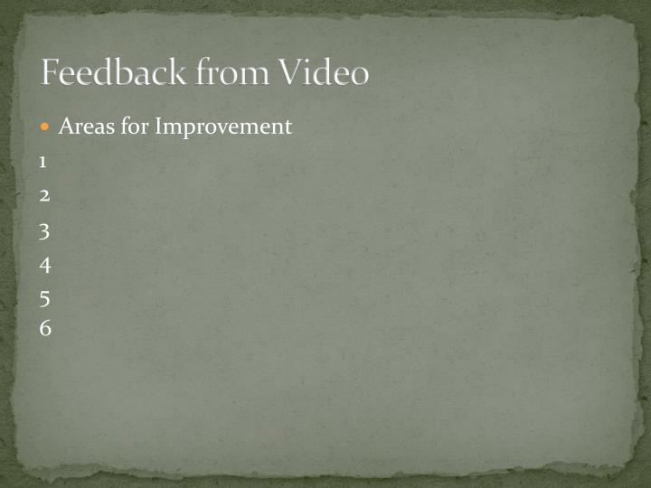 Feedback from Video