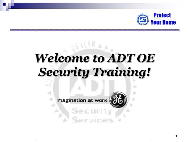 Welcome to adt oe security training