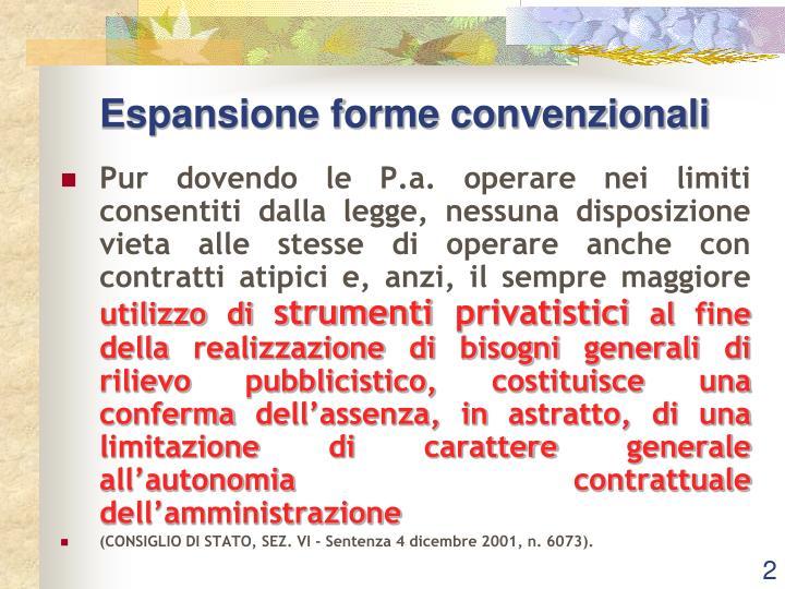 Espansione forme convenzionali