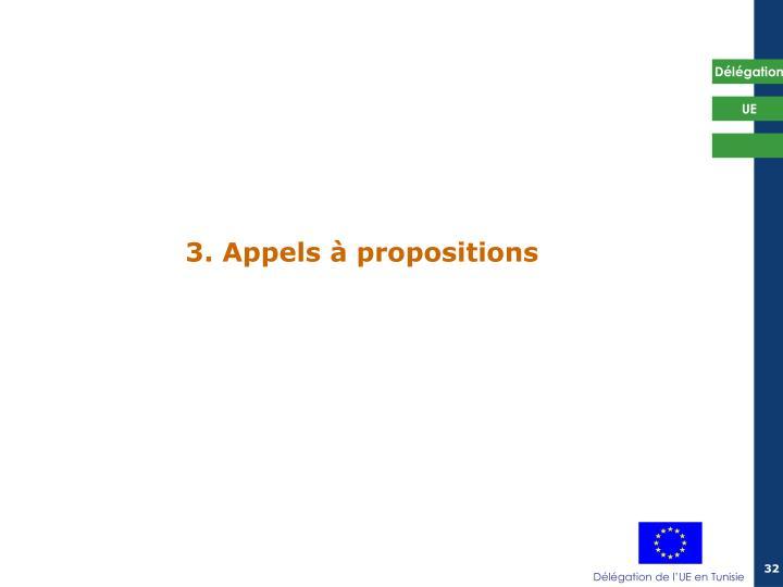 3. Appels à propositions