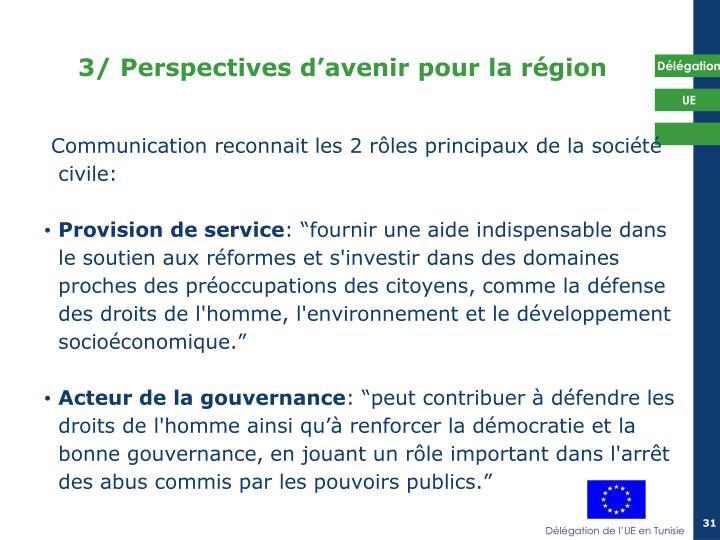 3/ Perspectives d'avenir pour la région