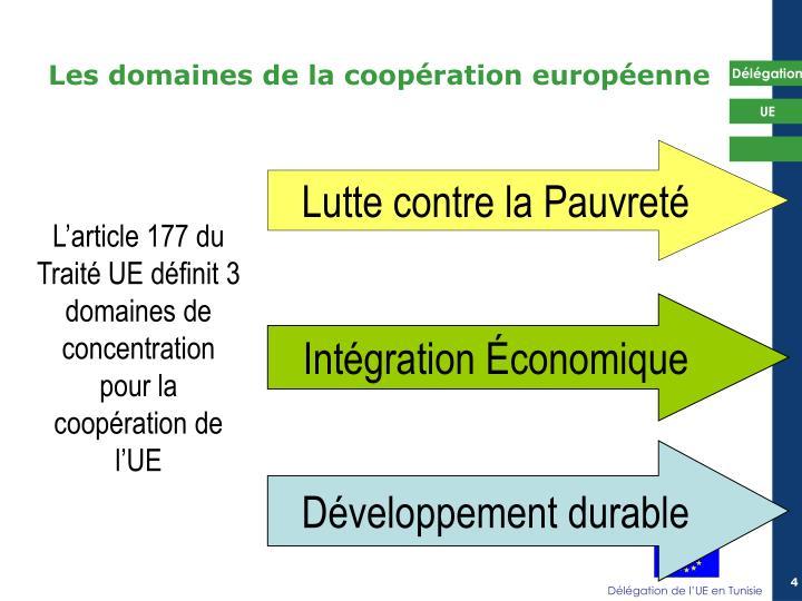 Les domaines de la coopération européenne