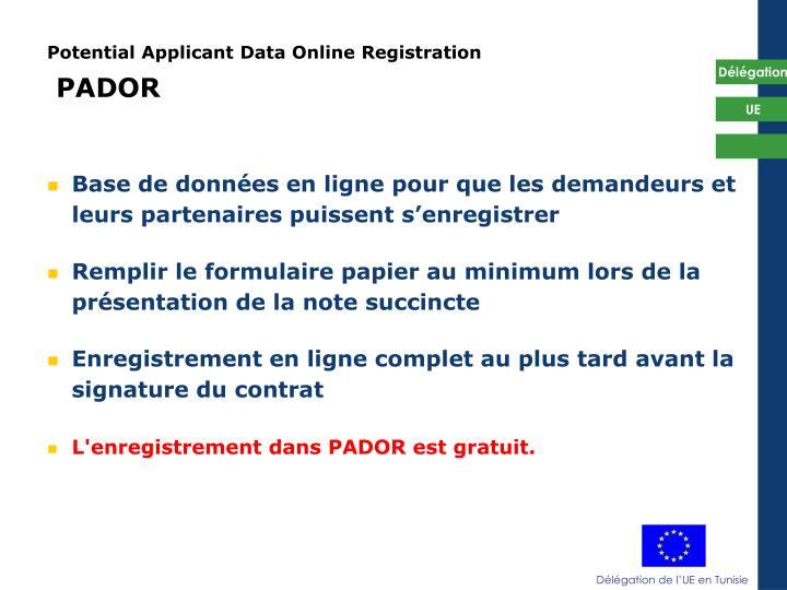Potential Applicant Data Online Registration
