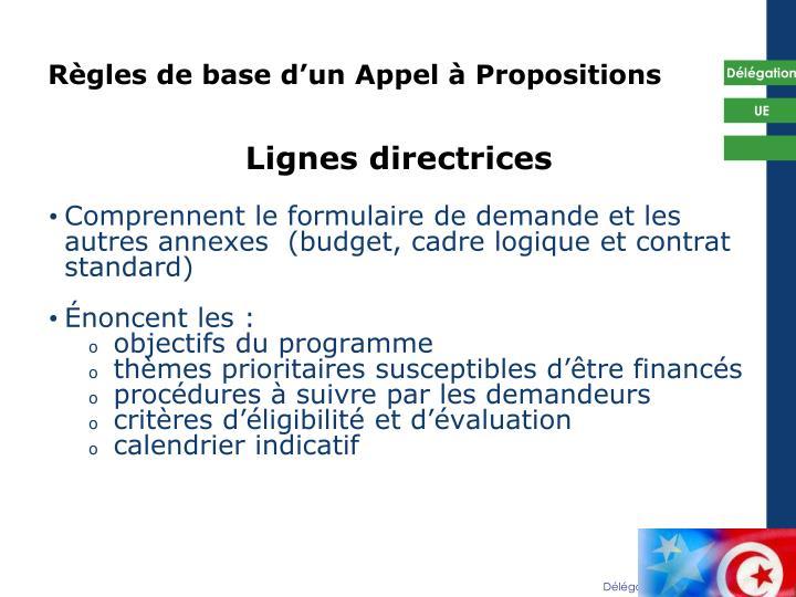 Règles de base d'un Appel à Propositions