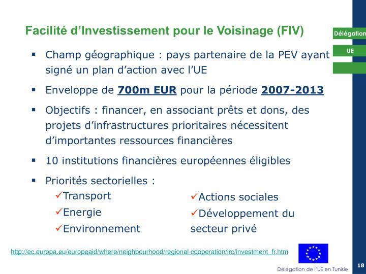 Champ géographique : pays partenaire de la PEV ayant signé un plan d'action avec l'UE