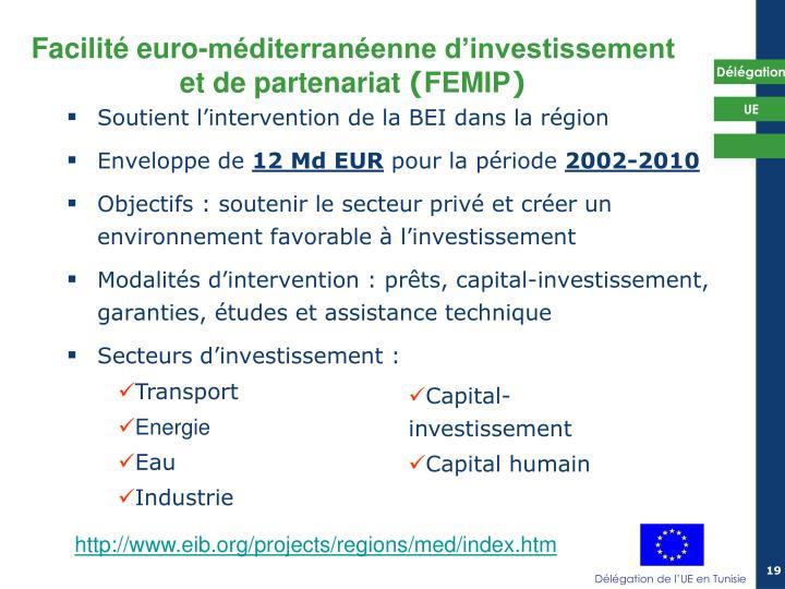 Soutient l'intervention de la BEI dans la région
