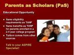 parents as scholars pas