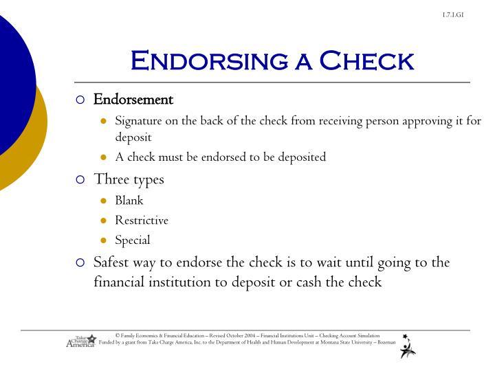 Endorsing a Check