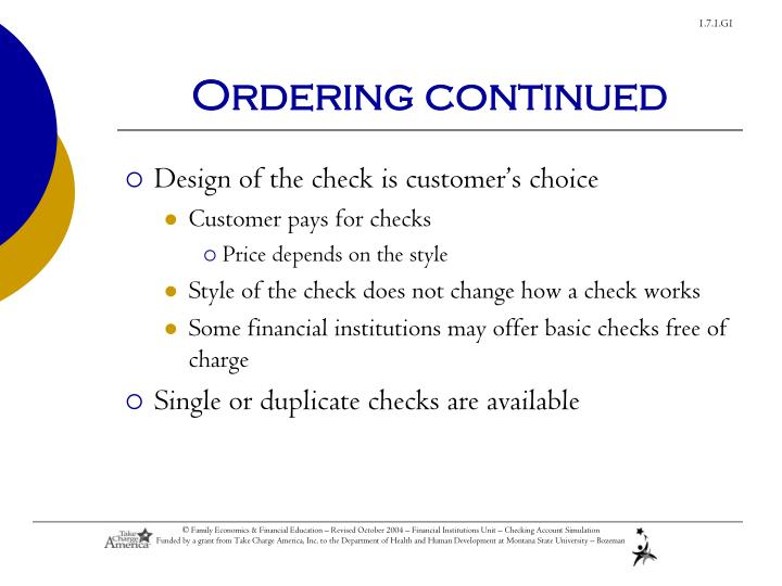 Ordering continued