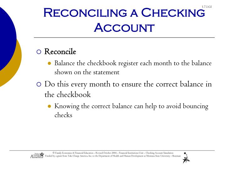 Reconciling a Checking Account